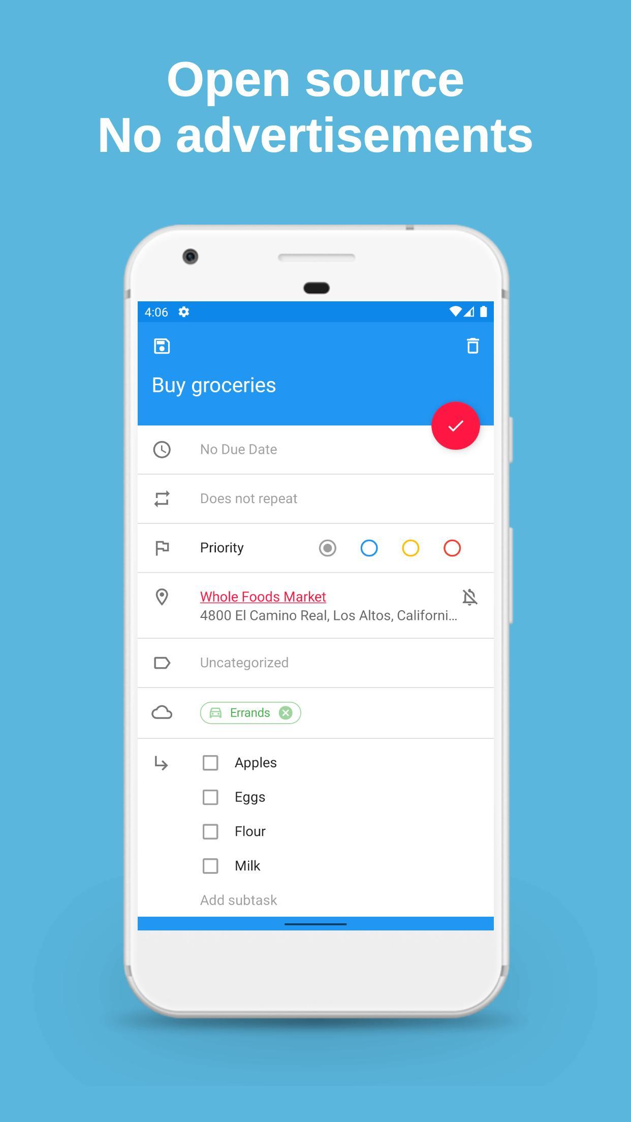 schermata dell'app